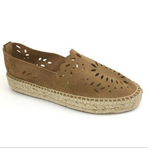 ZARA Brown Laser Cut Leather Espadrille Flats